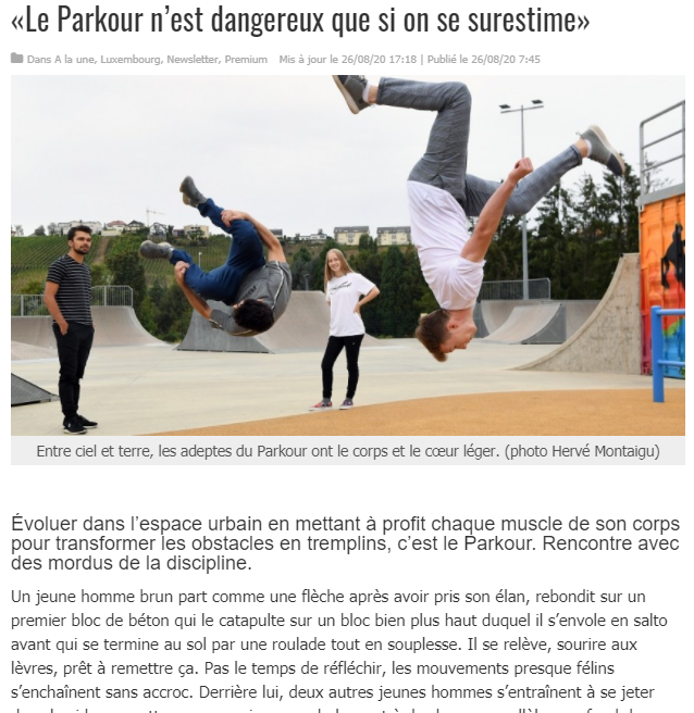 le parkour nest dangeureux que si on se surestime